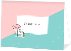 Cute Pink Flamingo Thank You Card