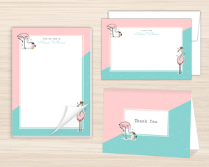 Cute Pink Flamingo Stationery Set