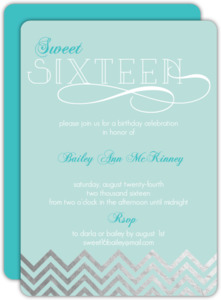 Light Blue Silver Foil Sweet Sixteen Invitation