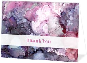 Purple Alcohol Ink Marble Thank You Card