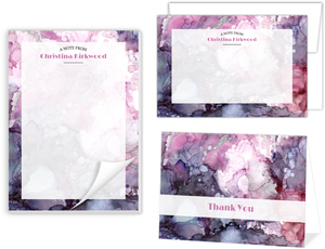 Purple Alcohol Ink Marble Stationery Set