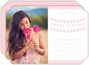 Pink Faux Glitter Banner Sweet Sixteen Birthday Invitation