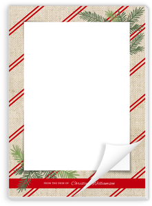 Burlap Red Stripes Holiday Notepad