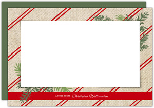 Burlap Red Stripes Holiday Notecard
