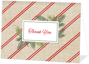 Burlap Red Stripes Holiday Thank You Card