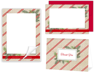 Burlap Red Stripes Holiday Stationery Set