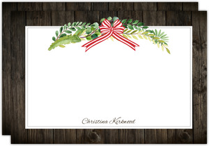 Rustic Green Watercolor Wreath Holiday Notecard