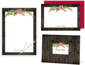 Rustic Green Watercolor Wreath Stationery Set