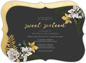 Tropical Faux Foil Floral Sweet Sixteen Birthday Invitation