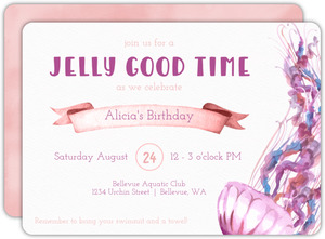 Pink and Purple Watercolor Jellyfish Birthday Invitation