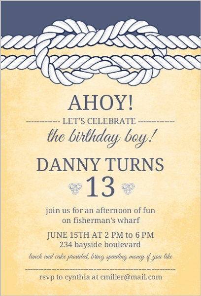 Rustic Yellow And Navy Knot Nautical Birthday Invitation Teen