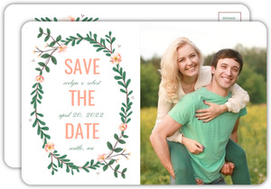 Spring Greenery Florals Save The Date Postcard