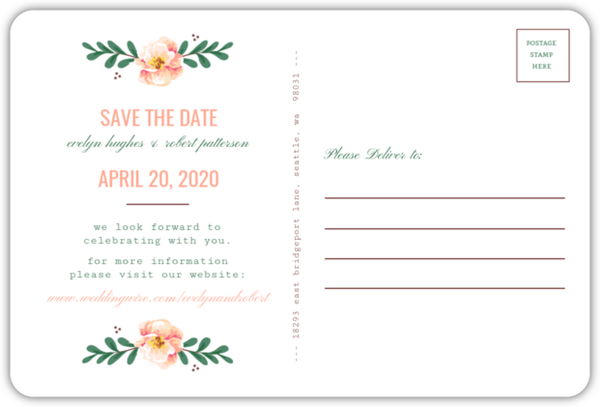1765a9f8ba1fb Spring Greenery Florals Save The Date Postcard. Spinner small. Loading.  Select Quantity