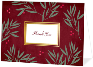 Berry Branches Faux Gold Thank You Card