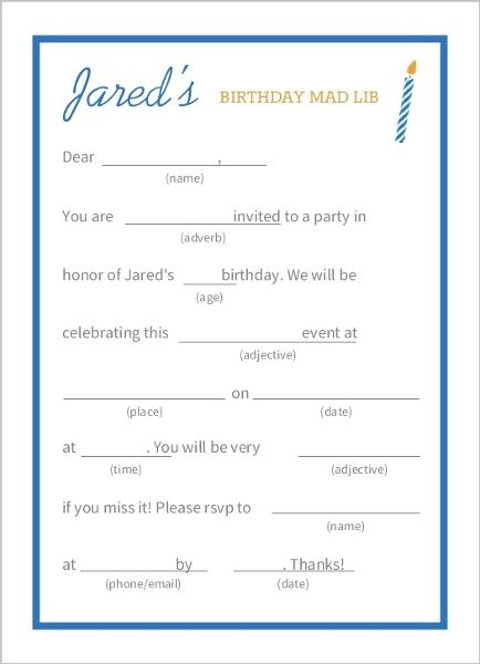 Blue And White Mad Lib Birthday Party Invitation Teen Birthday