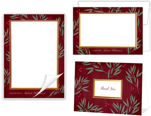 Berry Branches Faux Gold Stationery Set