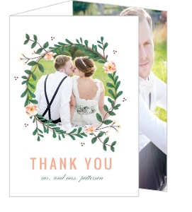 Spring Greenery Florals Wedding Thank You Card