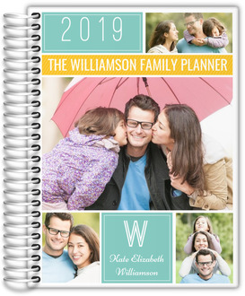 Colorful Family Photo Grid Monthly Planner