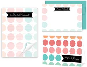 Color Burst Polka Dot Stationery Set