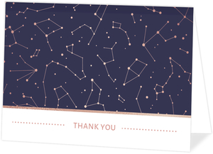 Rose Gold Constellations Thank You Card