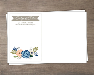 Soft Blue And Taupe Floral Envelope