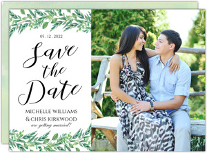 Gorgeous Greenery Wedding Save The Date Card