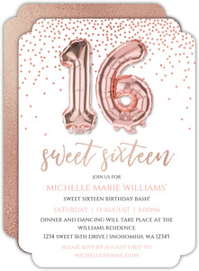 Faux Rose Gold Balloons Sweet Sixteen Invitation