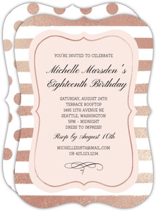 Rose Gold Stripes Birthday Invitation