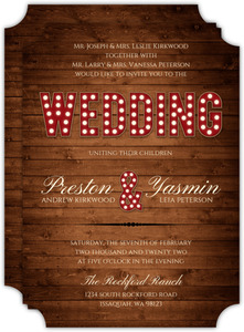 Rustic Wood Marquee Decor Wedding Invitations