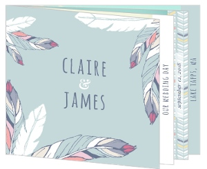 Boho Chic Delicate Feather Wedding Invitation