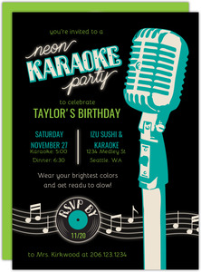 Neon Karaoke Birthday Invitation