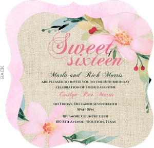 Floral Burlap Sweet 16th Birthday Invitation