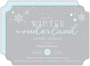 Blue and White Winter Wonderland Sweet Sixteen Birthday Invitation