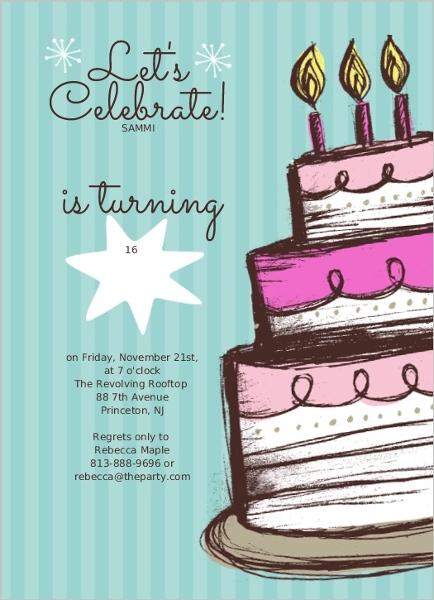 Hand drawn cake sweet 16 birthday party invite teen birthday hand drawn cake sweet 16 birthday party invite stopboris Choice Image