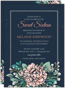Vintage Pink Peony Sweet 16 Birthday Invitation