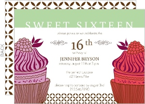 Cupcakes Sweet Sixteen Birthday Invitation
