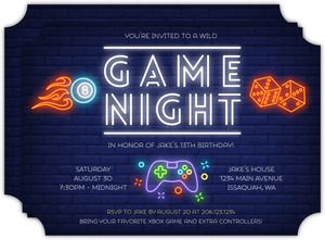 Neon Lights Game Night Birthday Invitation