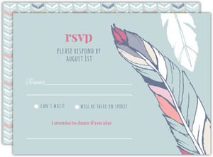 Boho Chic Delicate Feather Wedding Response Card