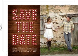 Rustic Wood Marquee Decor Save The Date Post Card