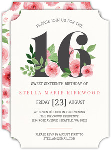 Pink Watercolor Flowers Sweet Sixteen Birthday Invitation