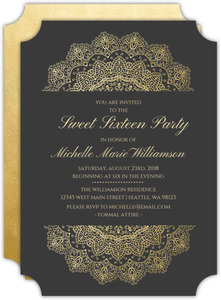 Elegant Faux Foil Mandala Sweet Sixteen Birthday Invitation
