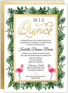 Tropical Gold Faux Foil & Greenery Quinceanera Invite