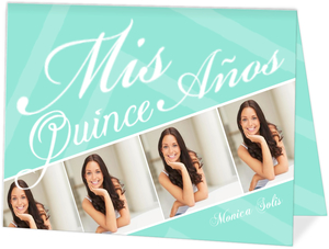 Aqua Striped Photo Mis Quince Anos Invitation
