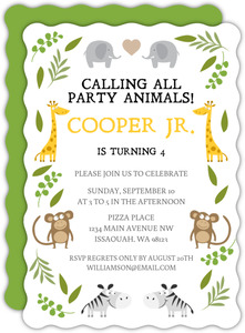 Green Jungle Safari Animals Safari Birthday Invitation