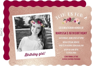 Flower Crown Teen Birthday Invitation