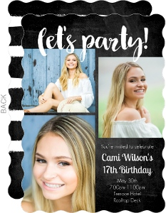 Let's Party Chalkboard Birthday Party Invitation
