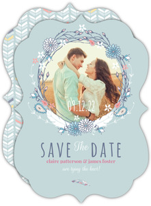 Boho Chic Delicate Feather Save The Date Announcement