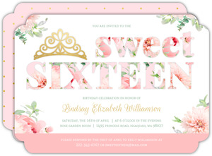Delicate Pink & Gold Sweet 16 Invitation