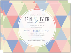 Modern Pastel Geometric Pattern Wedding Invitation