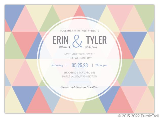 Modern Pastel Geometric Pattern Wedding Invitation